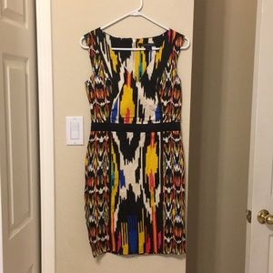 French Connection mixes print sleeveless dress.